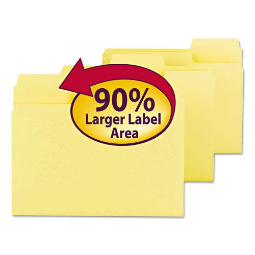 SuperTab Colored File Folders, 1/3-Cut Tabs, Letter Size, 11 pt. Stock, Yellow, 100/Box. Picture 1