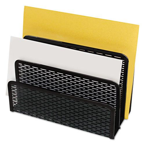 """Urban Collection Punched Metal Letter Sorter, 3 Sections, DL to A6 Size Files, 6.5"""" x 3.25"""" x 5.5"""", Black. Picture 1"""