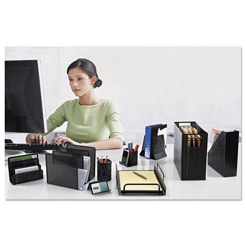 """Urban Collection Punched Metal Letter Sorter, 3 Sections, DL to A6 Size Files, 6.5"""" x 3.25"""" x 5.5"""", Black. Picture 2"""