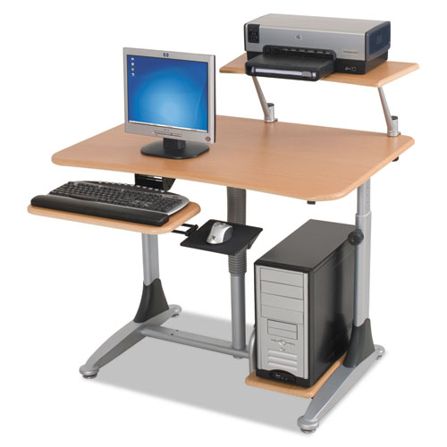 Ergo Sit-Stand Workstation, 41w x 29d x 29-39h, Teak/Silver, Base (Box Two). Picture 5