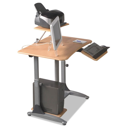 Ergo Sit-Stand Workstation, 41w x 29d x 29-39h, Teak/Silver, Base (Box Two). Picture 6