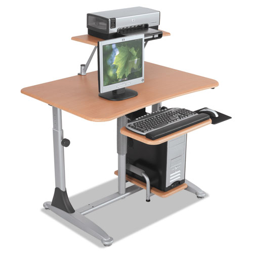 Ergo Sit-Stand Workstation, 41w x 29d x 29-39h, Teak/Silver, Base (Box Two). Picture 4