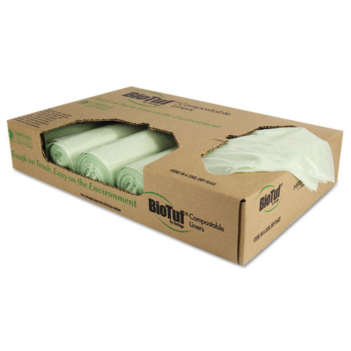 """Biotuf Compostable Can Liners, 32 gal, 1 mil, 34"""" x 48"""", Green, 100/Carton. Picture 1"""