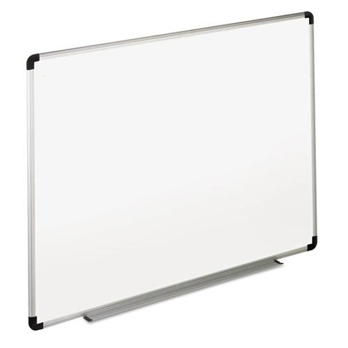 Dry Erase Board, Melamine, 36 x 24, White, Black/Gray Aluminum/Plastic Frame. Picture 1