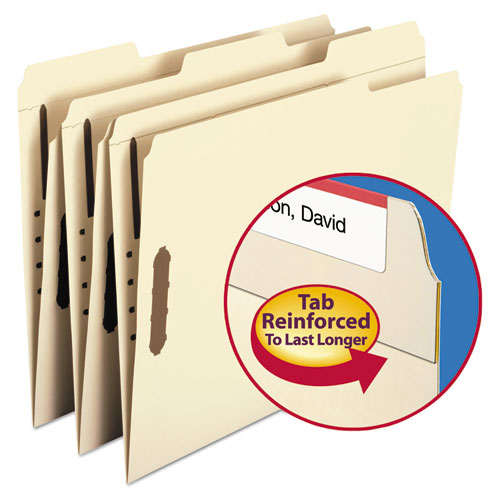 Top Tab 2-Fastener Folders, 1/3-Cut Tabs, Letter Size, 11 pt. Manila, 50/Box. Picture 3