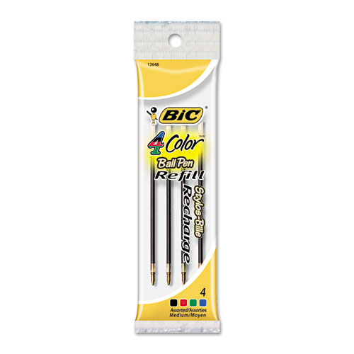 Refill for BIC 4-Color Retractable Ballpoint Pens, Medium Point, Assorted Ink Colors, 4/Pack. Picture 1