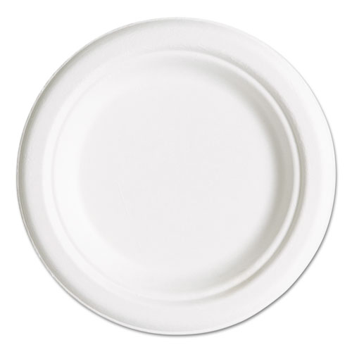 """Renewable and Compostable Sugarcane Plates Convenience Pack, 6"""", 50/Packs. Picture 1"""