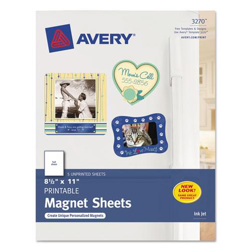 Printable Magnet Sheets, 8.5 x 11, White, 5/Pack. Picture 1