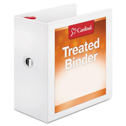 "Treated ClearVue Locking Slant-D Ring Binder, 3 Rings, 5"" Capacity, 11 x 8.5, White. Picture 1"