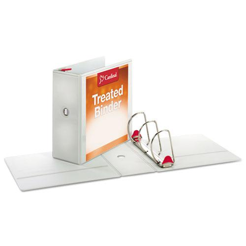 "Treated ClearVue Locking Slant-D Ring Binder, 3 Rings, 5"" Capacity, 11 x 8.5, White. Picture 2"