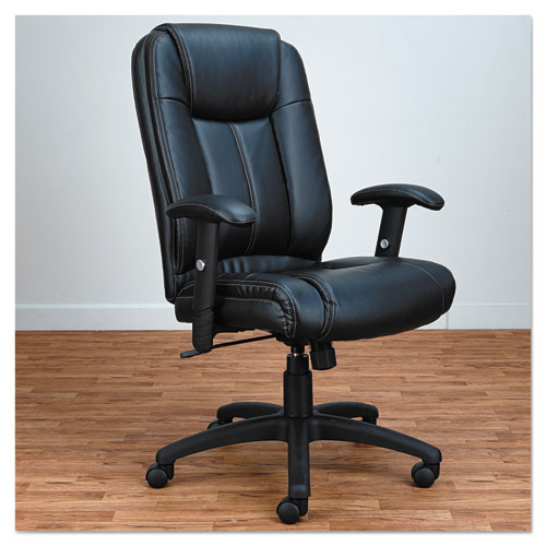 Alera CC Series Executive High-Back Swivel/Tilt Bonded Leather Chair, Supports up to 275 lbs., Black Seat/Back, Black Base. Picture 6