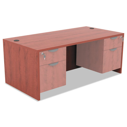 "Alera Valencia Series Straight Front Desk Shell, 59.13"" x 29.5"" x 29.63"", Medium Cherry. Picture 8"