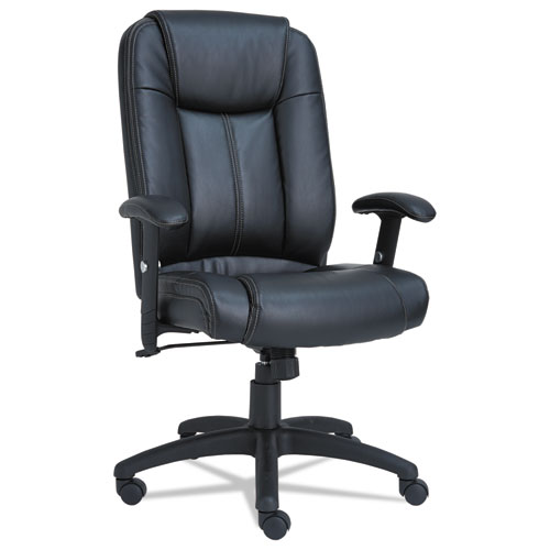 Alera CC Series Executive High-Back Swivel/Tilt Bonded Leather Chair, Supports up to 275 lbs., Black Seat/Back, Black Base. Picture 1