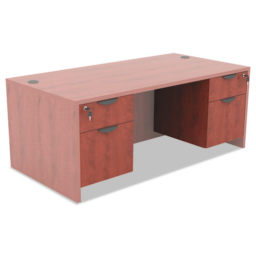 Alera Valencia Series 3/4 Box/File Pedestal, 15.63w x 20.5d x 19.25h, Medium Cherry. Picture 3