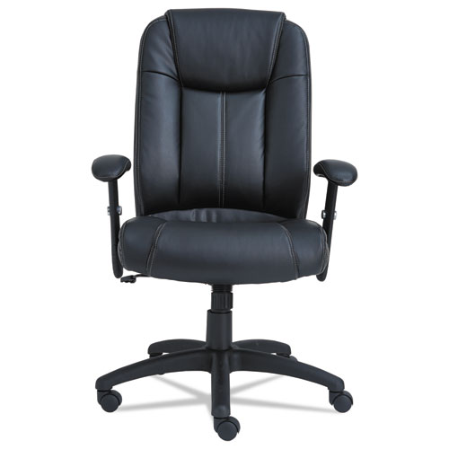 Alera CC Series Executive High-Back Swivel/Tilt Bonded Leather Chair, Supports up to 275 lbs., Black Seat/Back, Black Base. Picture 2
