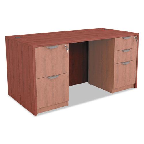 "Alera Valencia Series Straight Front Desk Shell, 59.13"" x 29.5"" x 29.63"", Medium Cherry. Picture 7"