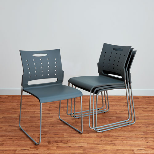 Alera Continental Series Plastic Perforated Back Stack Chair, Charcoal Gray Seat/Back, Gunmetal Gray Base, 4/Carton. Picture 8