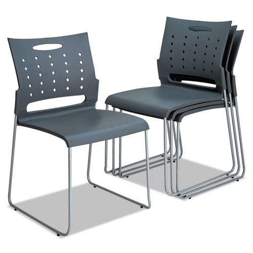 Alera Continental Series Plastic Perforated Back Stack Chair, Charcoal Gray Seat/Back, Gunmetal Gray Base, 4/Carton. Picture 1