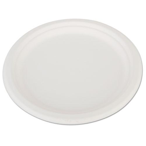 "ChampWare Heavyweight Bagasse Dinnerware, Plate, 10"", White, 500/Carton. Picture 1"