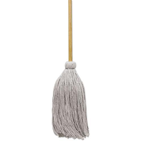 """Cotton Deck Mop, 24 oz White Cotton Head, 50"""" Wood Handle, 6/Carton. Picture 1"""