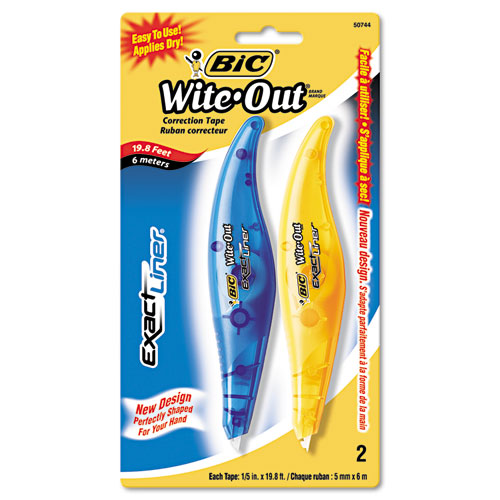 """Wite-Out Brand Exact Liner Correction Tape, Non-Refillable, Blue/Orange, 1/5"""" x 236"""", 2/Pack. Picture 1"""