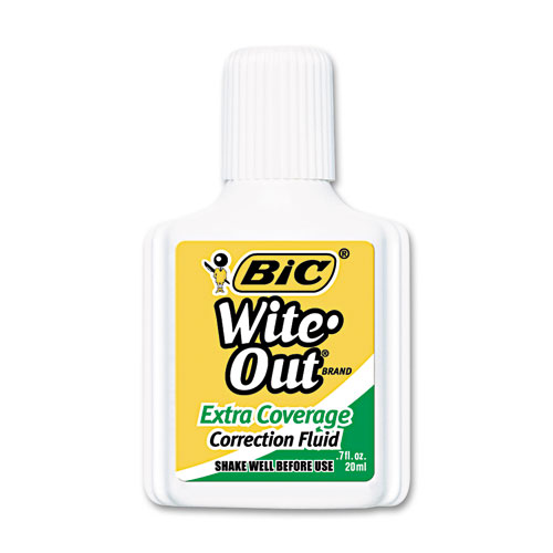 Wite-Out Extra Coverage Correction Fluid, 20 ml Bottle, White, 1/Dozen. Picture 1