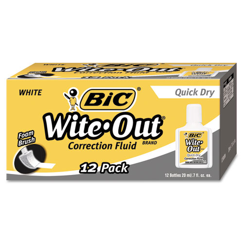 Wite-Out Quick Dry Correction Fluid, 20 mL Bottle, White, 1/Dozen. Picture 2