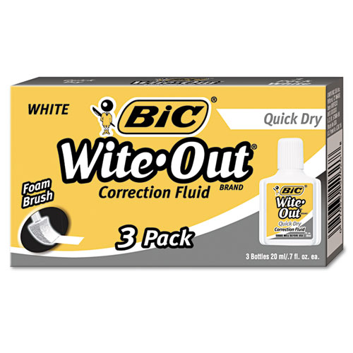 Wite-Out Quick Dry Correction Fluid, 20 mL Bottle, White, 3/Pack. Picture 1