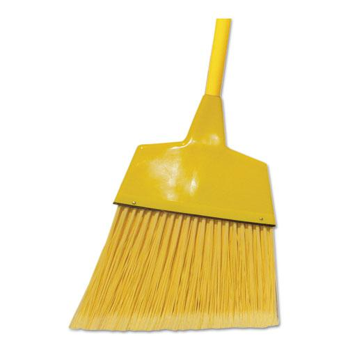 "Poly Fiber Angled-Head Lobby Brooms, 55"", Yellow Lacquered Wood Handle, 12/Carton. Picture 1"