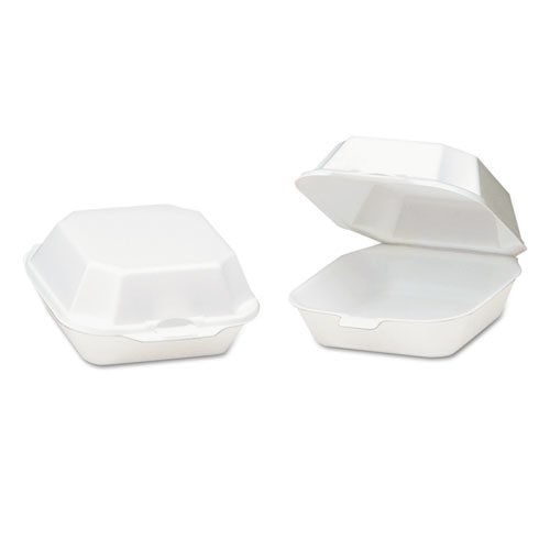 Foam Hinged Container, Sandwich, 5-1/8x5-1/3x2-3/4, White, 125/Bag, 4 Bags/CT. Picture 1
