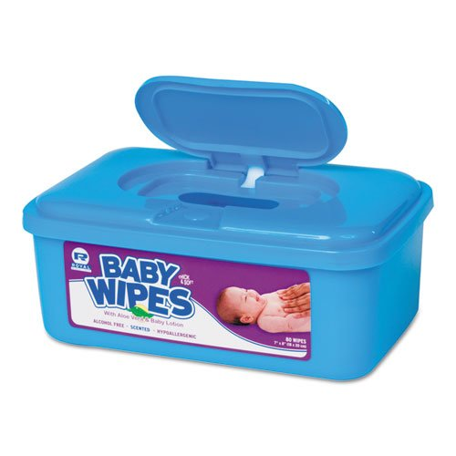 Baby Wipes Tub, Scented, White, 80/Tub, 12 Tubs/Carton. Picture 1