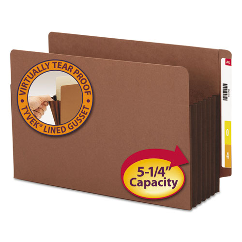 """Redrope Drop-Front End Tab File Pockets w/ Fully Lined Colored Gussets, 5.25"""" Expansion, Legal, Redrope/Dark Brown, 10/Box. Picture 1"""