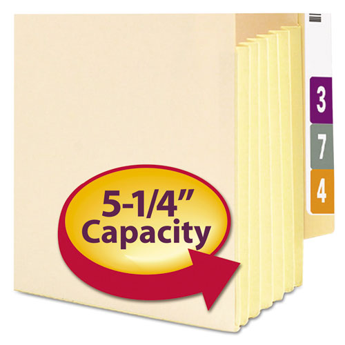 "Manila End Tab File Pockets, 5.25"" Expansion, Letter Size, Manila, 10/Box. Picture 2"