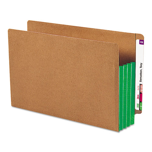 """Redrope Drop-Front End Tab File Pockets w/ Fully Lined Colored Gussets, 3.5"""" Expansion, Legal Size, Redrope/Green, 10/Box. Picture 1"""
