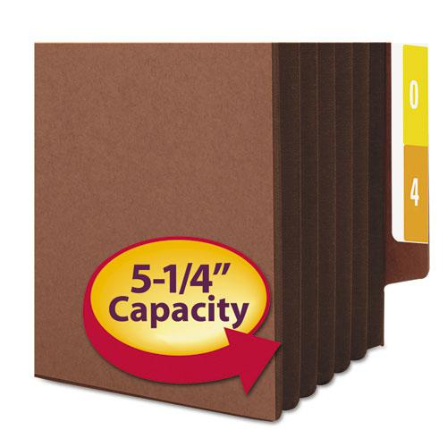 """Redrope Drop-Front End Tab File Pockets w/ Fully Lined Colored Gussets, 5.25"""" Exp, Letter Size, Redrope/Dark Brown, 10/Box. Picture 2"""