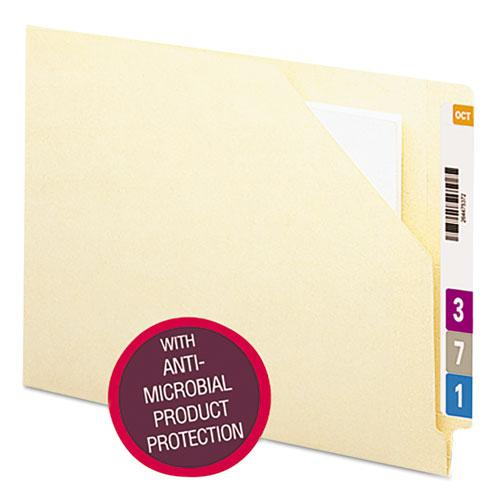 End Tab File Jacket with Antimicrobial Product Protection, Shelf-Master Reinforced Straight Tab, Letter Size, Manila, 100/Box. Picture 1