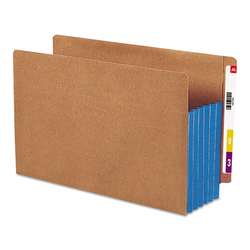 """Redrope Drop-Front End Tab File Pockets w/ Fully Lined Colored Gussets, 5.25"""" Expansion, Legal Size, Redrope/Blue, 10/Box. Picture 1"""