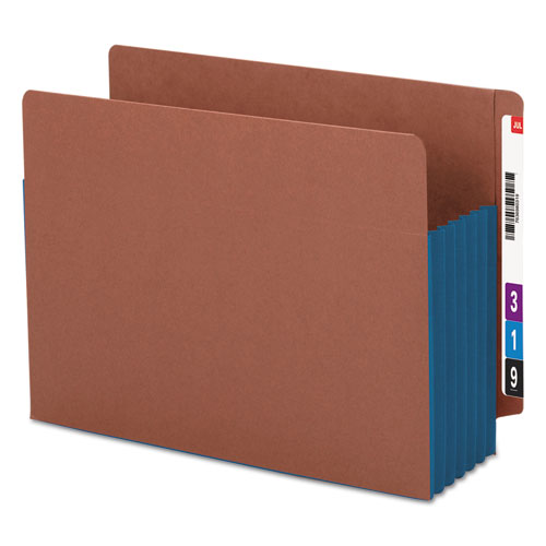 """Redrope Drop-Front End Tab File Pockets w/ Fully Lined Colored Gussets, 5.25"""" Expansion, Letter Size, Redrope/Blue, 10/Box. Picture 1"""