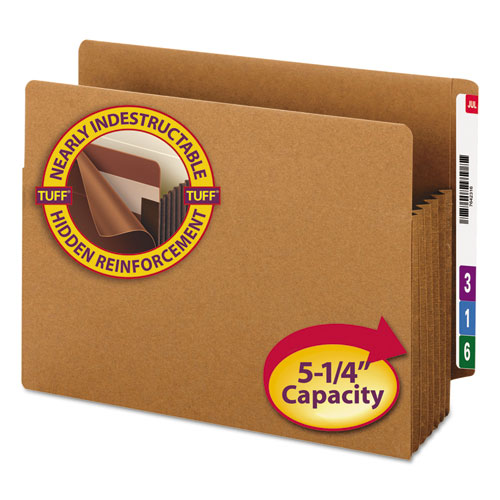 """Heavy-Duty Redrope End Tab TUFF Pockets, 5.25"""" Expansion, Letter Size, Redrope, 10/Box. Picture 1"""