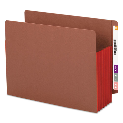 """Redrope Drop-Front End Tab File Pockets w/ Fully Lined Colored Gussets, 5.25"""" Expansion, Letter Size, Redrope/Red, 10/Box. Picture 1"""