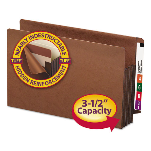 """Heavy-Duty Redrope End Tab TUFF Pockets, 3.5"""" Expansion, Legal Size, Redrope, 10/Box. Picture 1"""