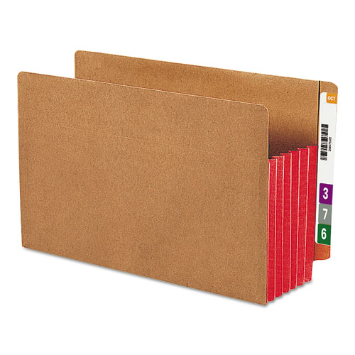 """Redrope Drop-Front End Tab File Pockets w/ Fully Lined Colored Gussets, 5.25"""" Expansion, Legal Size, Redrope/Red, 10/Box. Picture 1"""