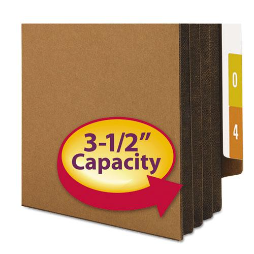 """Redrope Drop-Front End Tab File Pockets w/ Fully Lined Colored Gussets, 3.5"""" Exp, Legal Size, Redrope/Dark Brown, 10/Box. Picture 3"""