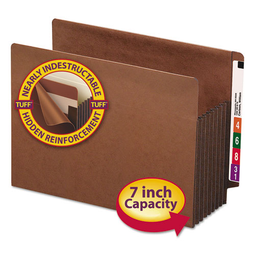 """Heavy-Duty Redrope End Tab TUFF Pockets, 7"""" Expansion, Letter Size, Redrope, 5/Box. Picture 1"""