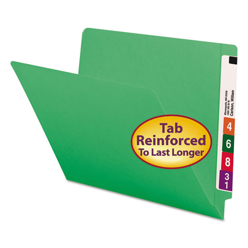 Reinforced End Tab Colored Folders, Straight Tab, Letter Size, Green, 100/Box. Picture 1