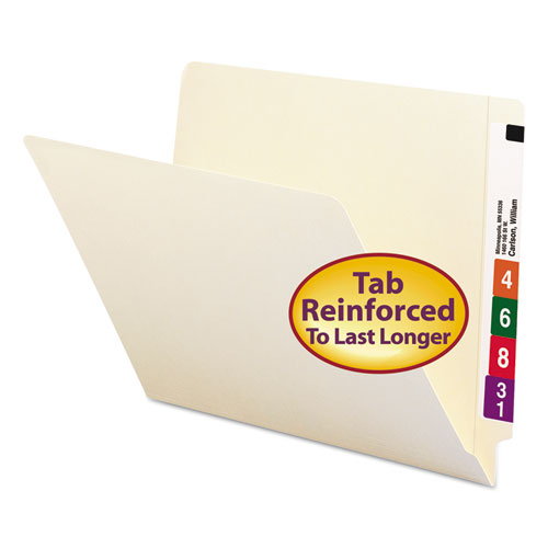 """Heavyweight Manila End Tab Folders, 9.5"""" Front, Straight Tab, Letter Size, 100/Box. Picture 1"""