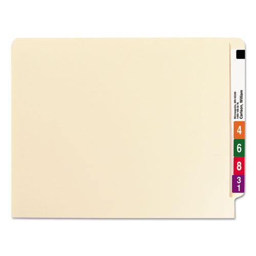 """Heavyweight Manila End Tab Folders, 9.5"""" Front, 1-Ply Straight Tab, Letter Size, 100/Box. Picture 2"""