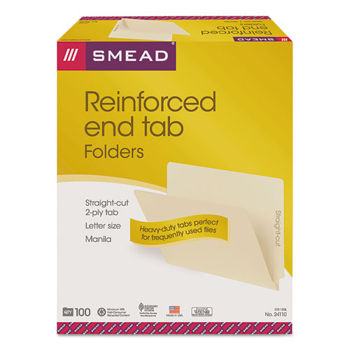 """Heavyweight Manila End Tab Folders, 9.5"""" Front, Straight Tab, Letter Size, 100/Box. Picture 2"""