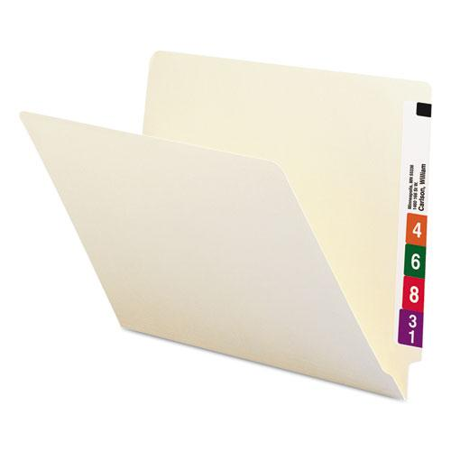 """Heavyweight Manila End Tab Folders, 9.5"""" Front, 1-Ply Straight Tab, Letter Size, 100/Box. Picture 1"""