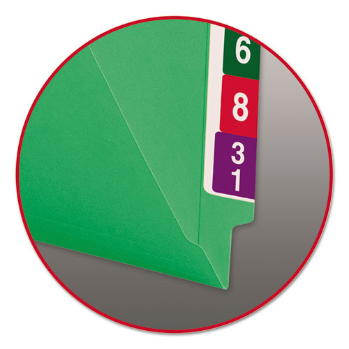 Reinforced End Tab Colored Folders, Straight Tab, Letter Size, Green, 100/Box. Picture 2